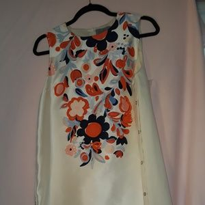 New Italian lined linen dress w/ hand embroidery